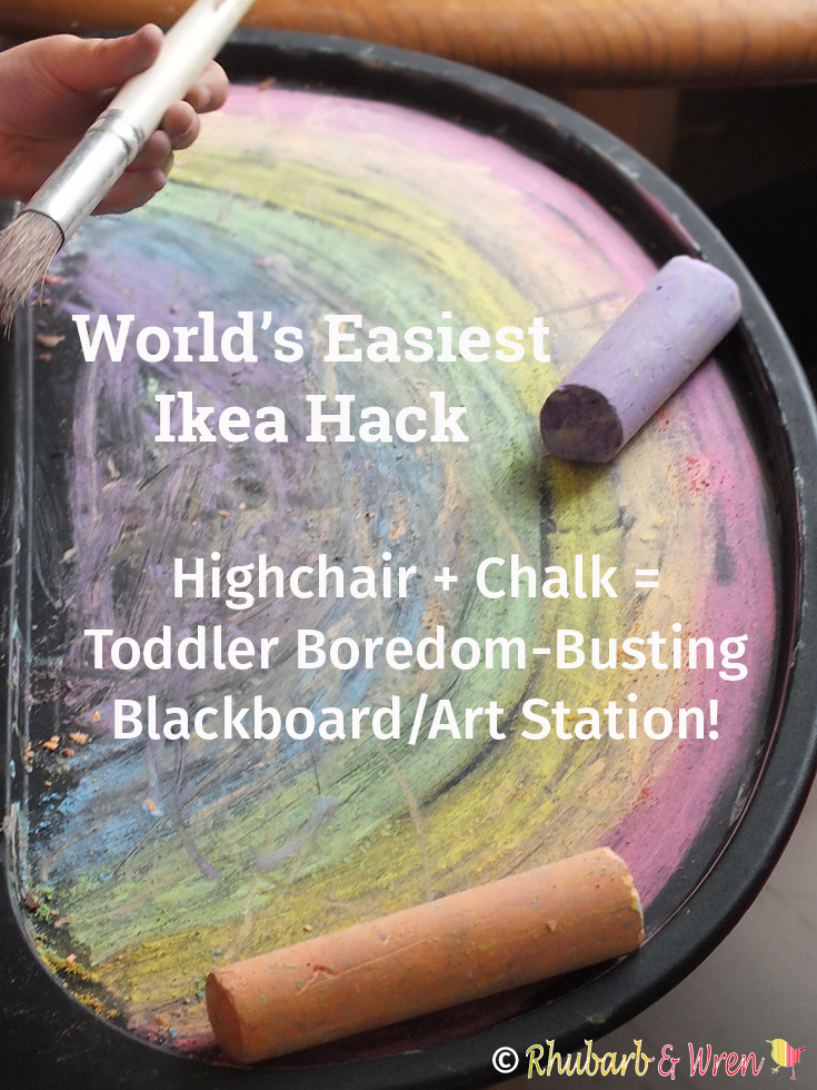 drawing in chalk on highchair