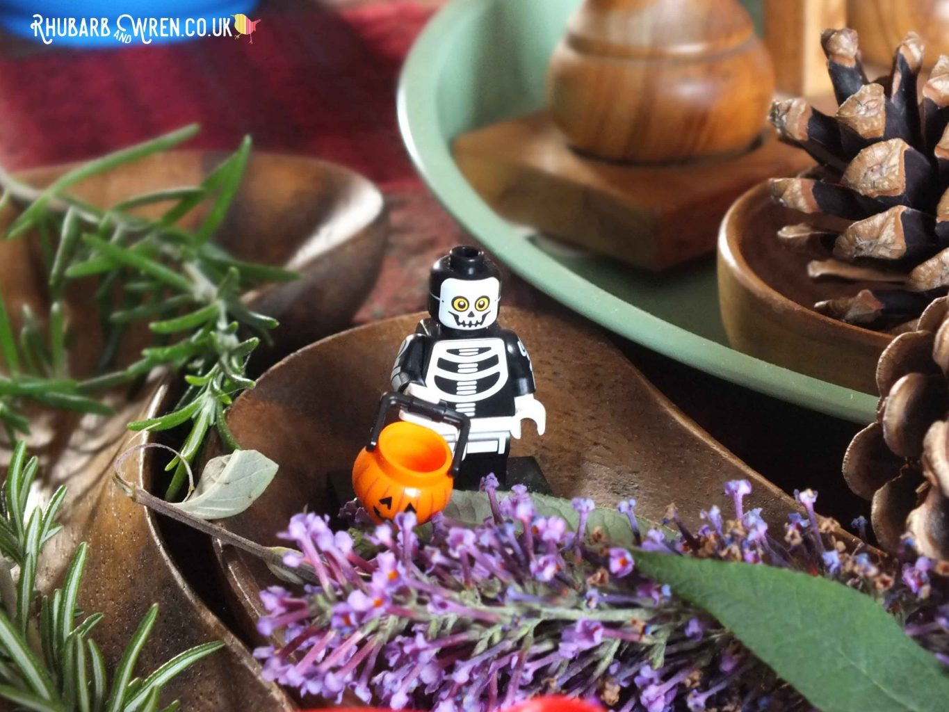 LEGO minifigure skeleton with trick or treat pumpkin basket