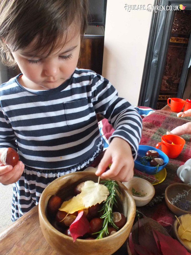 Toddler making doll's tea party with real leaves and herbs