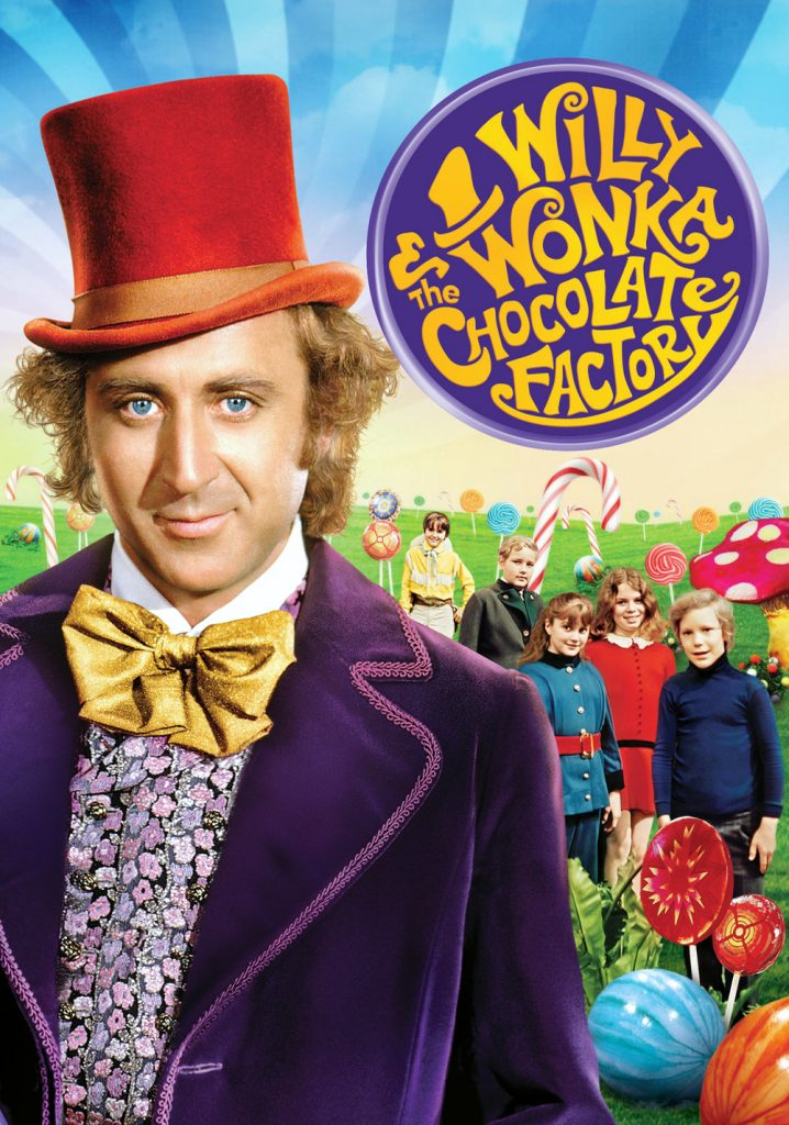 Film poster for 'Willy Wonka and the Chocolate Factory' featuring picture of Gene Wilder wearing a top hat.