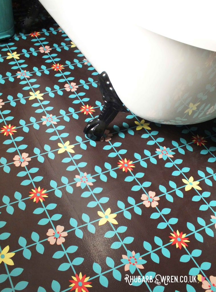 Bright floral vinyl bathroom tiles
