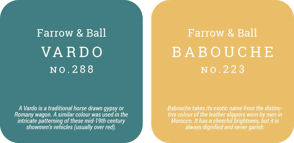 Farrow and Ball paint colours: Babouche 223 and Vardo 288