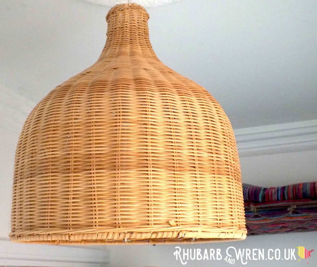 wicker lampshade in bathroom