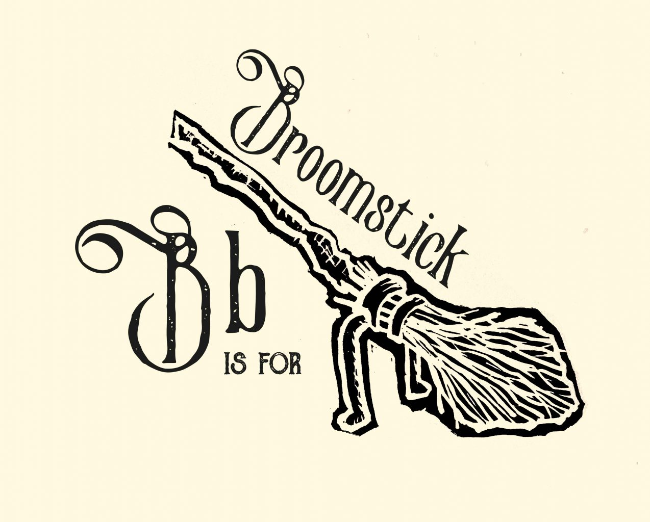'B is for Broomstick' Linocut print
