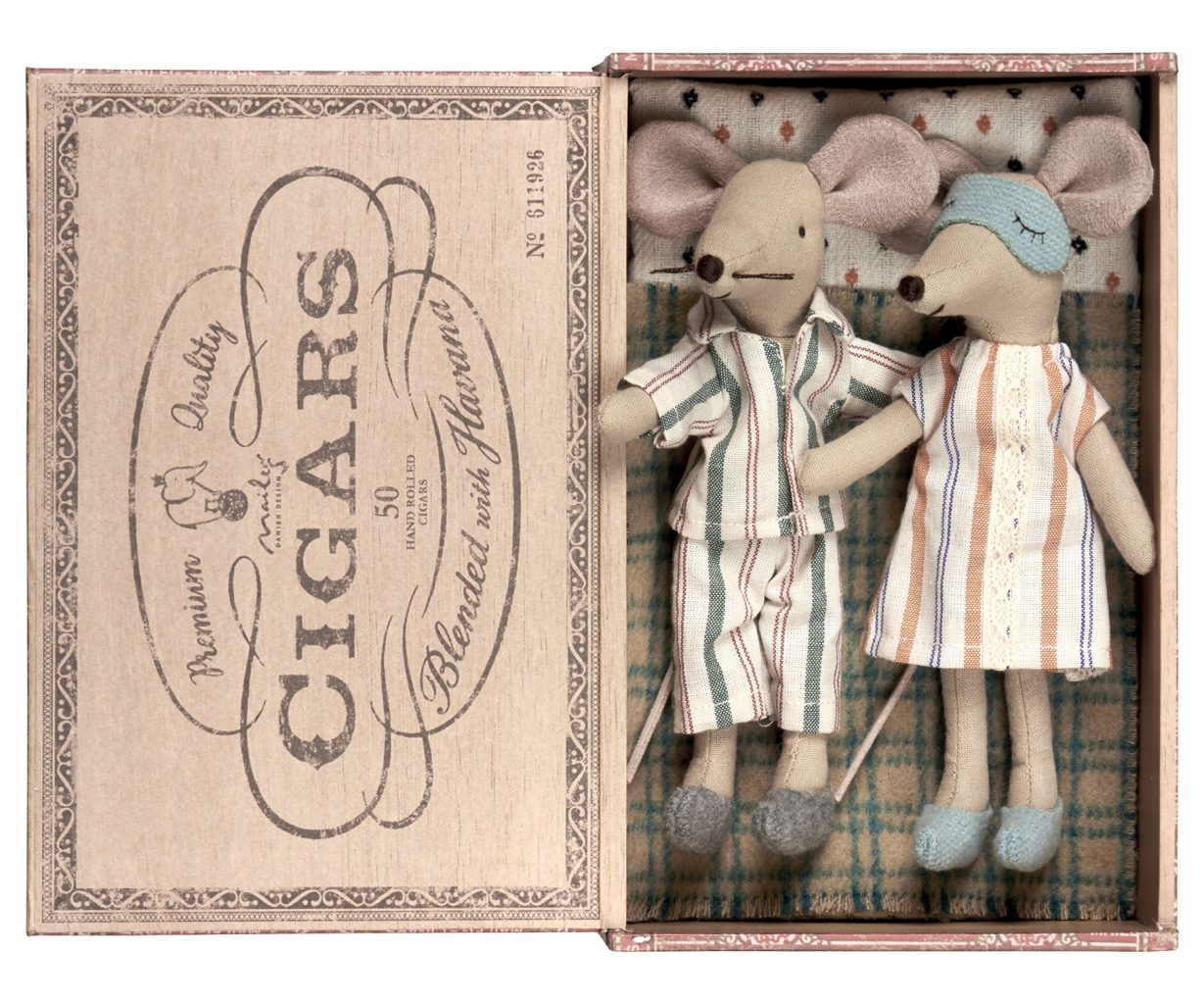 Maileg Mother and Father mouse in an oversized cigar box bed