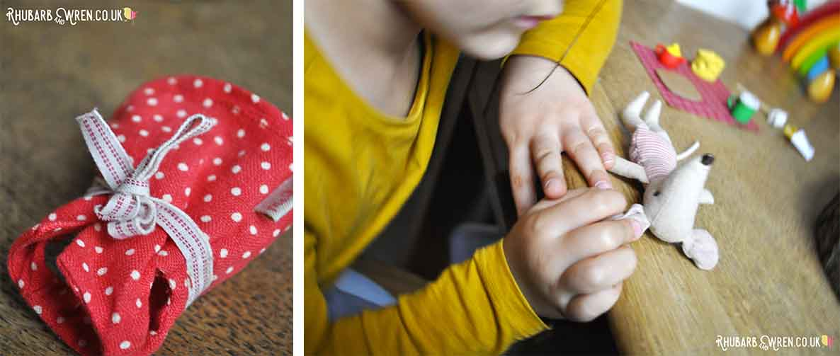 Maileg mouse dress and child playing with mouse toy
