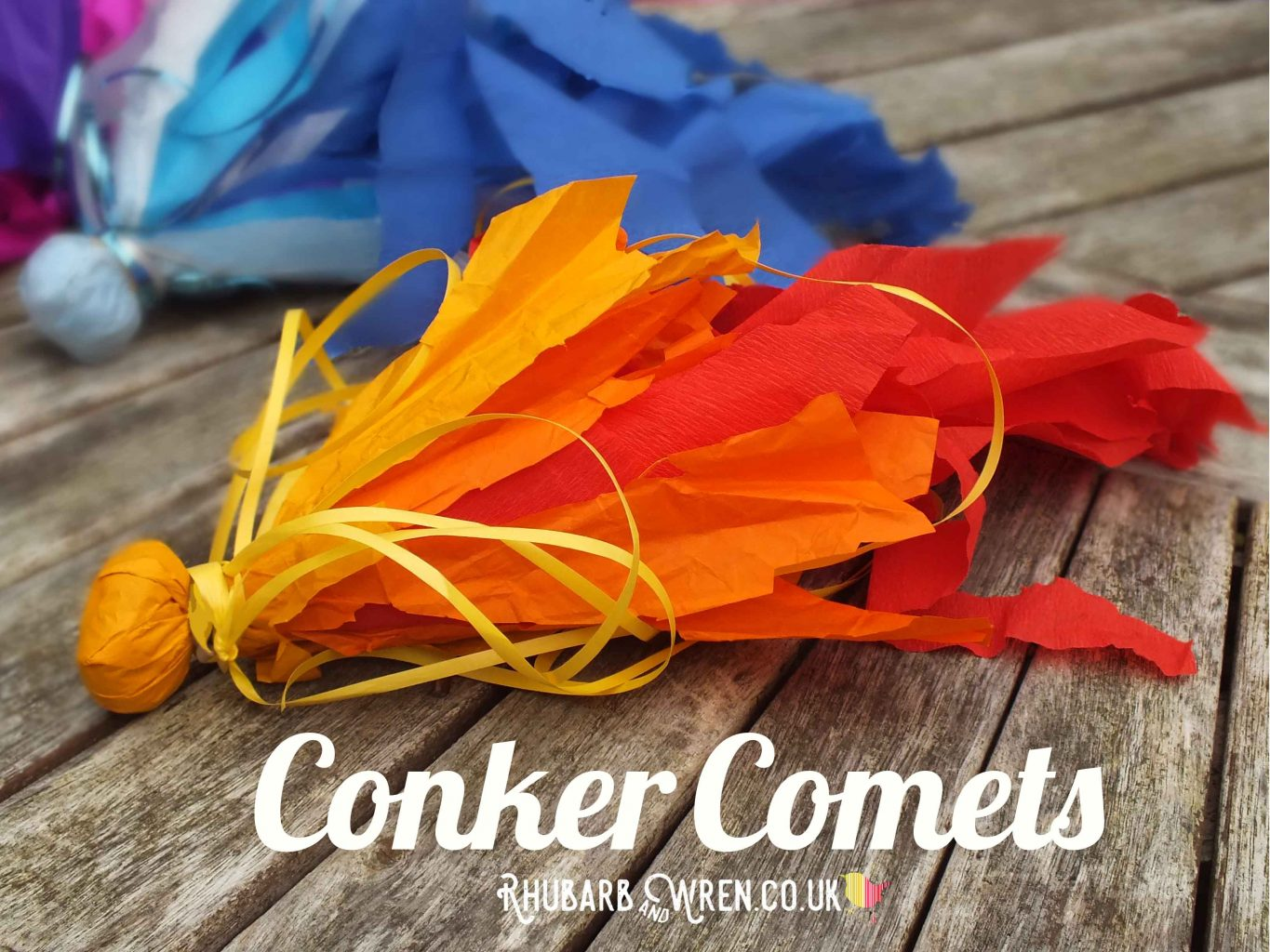 Brightly coloured conker comets - kids' conker activity