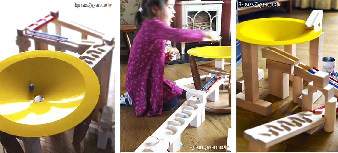 HABA whirlpool marble run funnel - shown in three pictures
