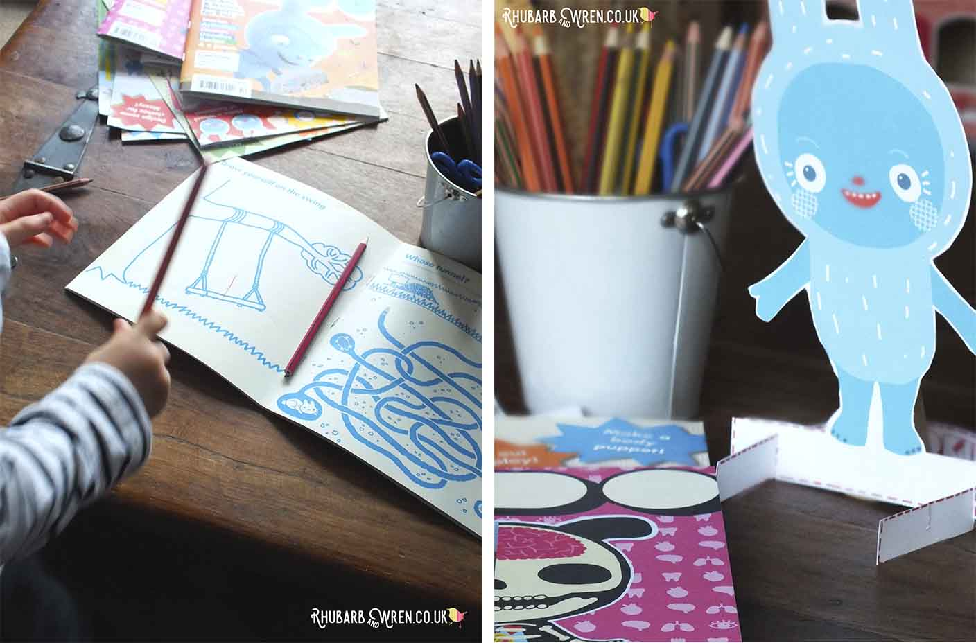 Open Okido magazine showing drawing activity, and cut-out Messy Monster