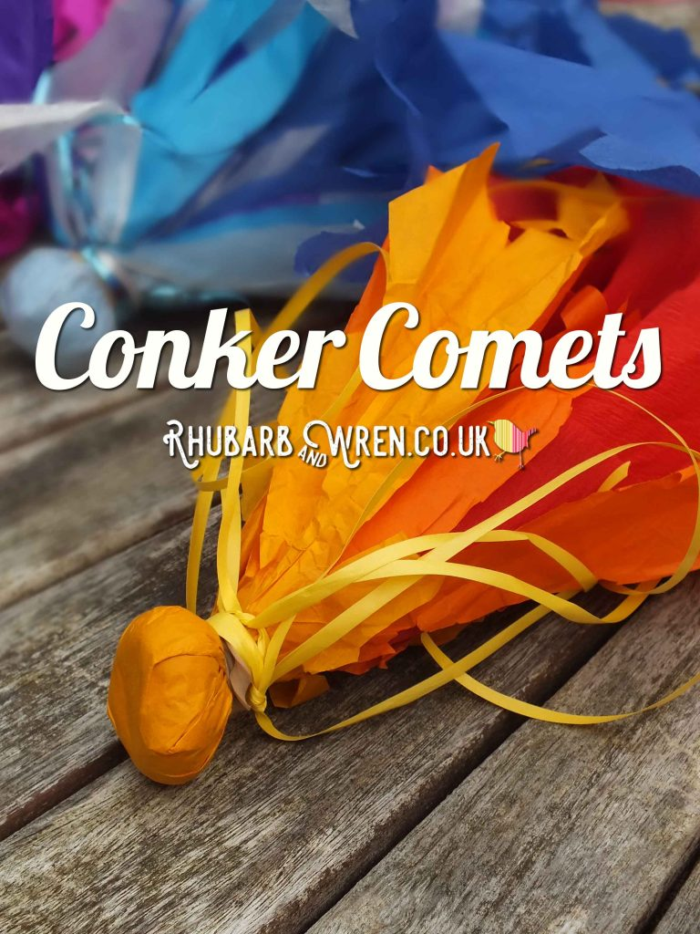 Throwing 'Comet' made from tissue paper, ribbons, and a conker.