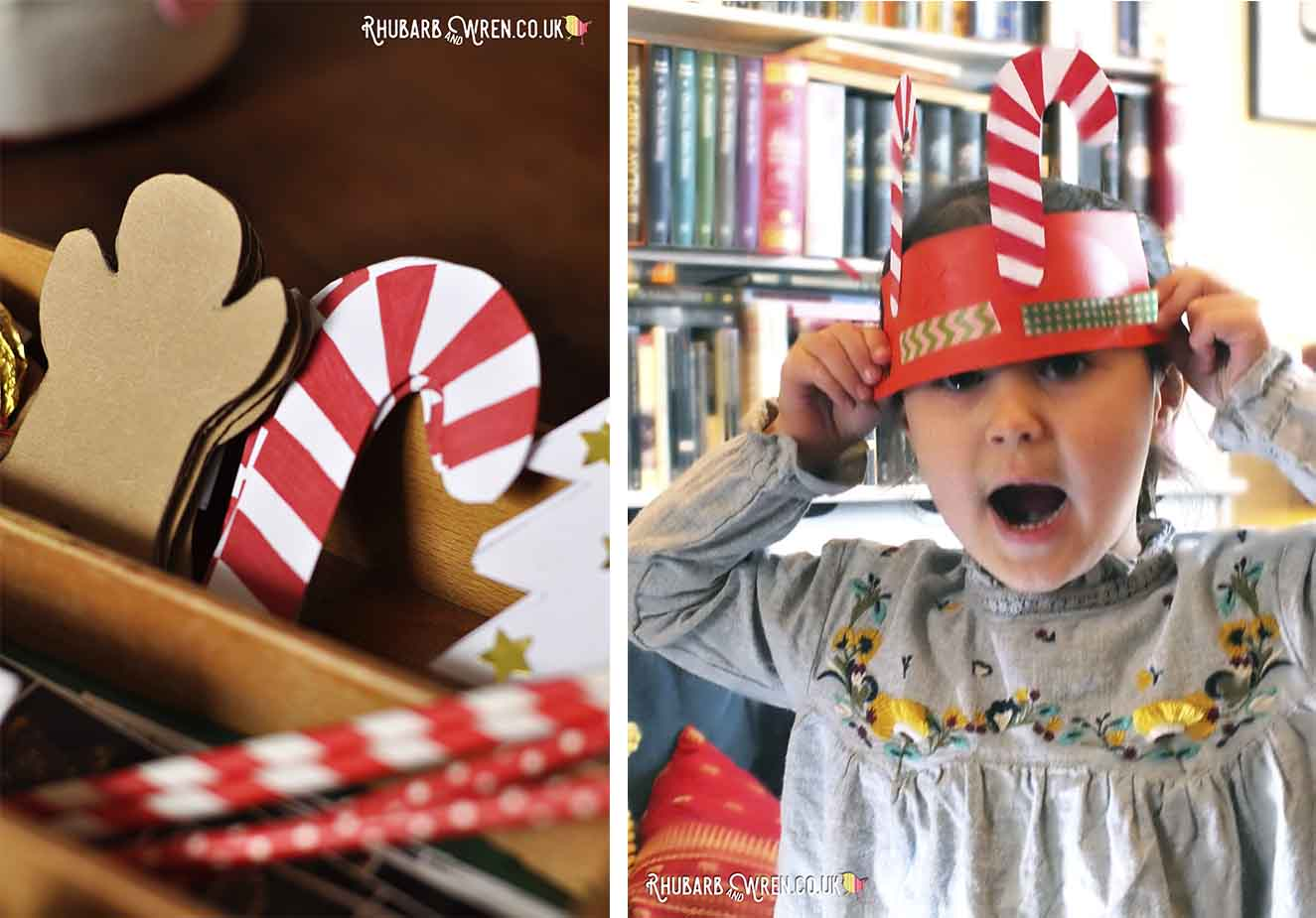 Cut-out christmas shapes and child displaying paper crown creation