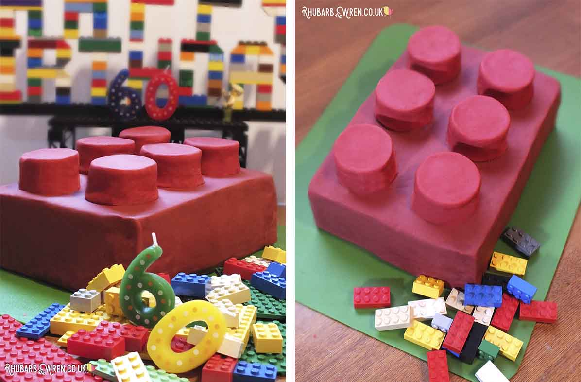 Giant Lego Brick Cake With Red Fondant Icing
