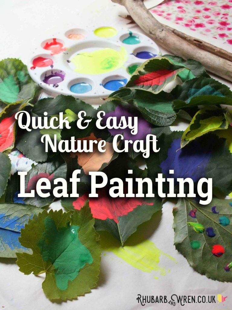 Painting leaves with bright coloured paint.