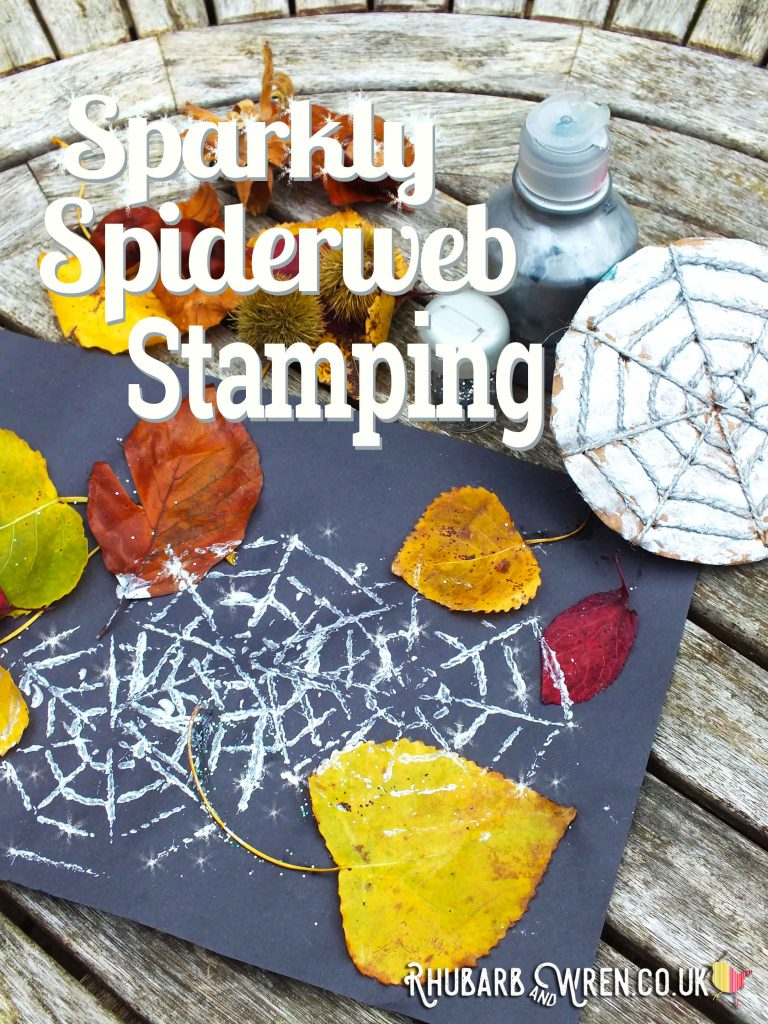 DIY spiderweb stamp made with string and cardboard!