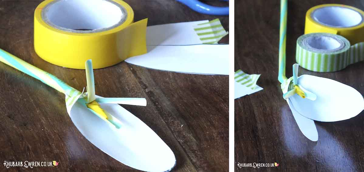 Attaching paper petals around a straw to make a flower