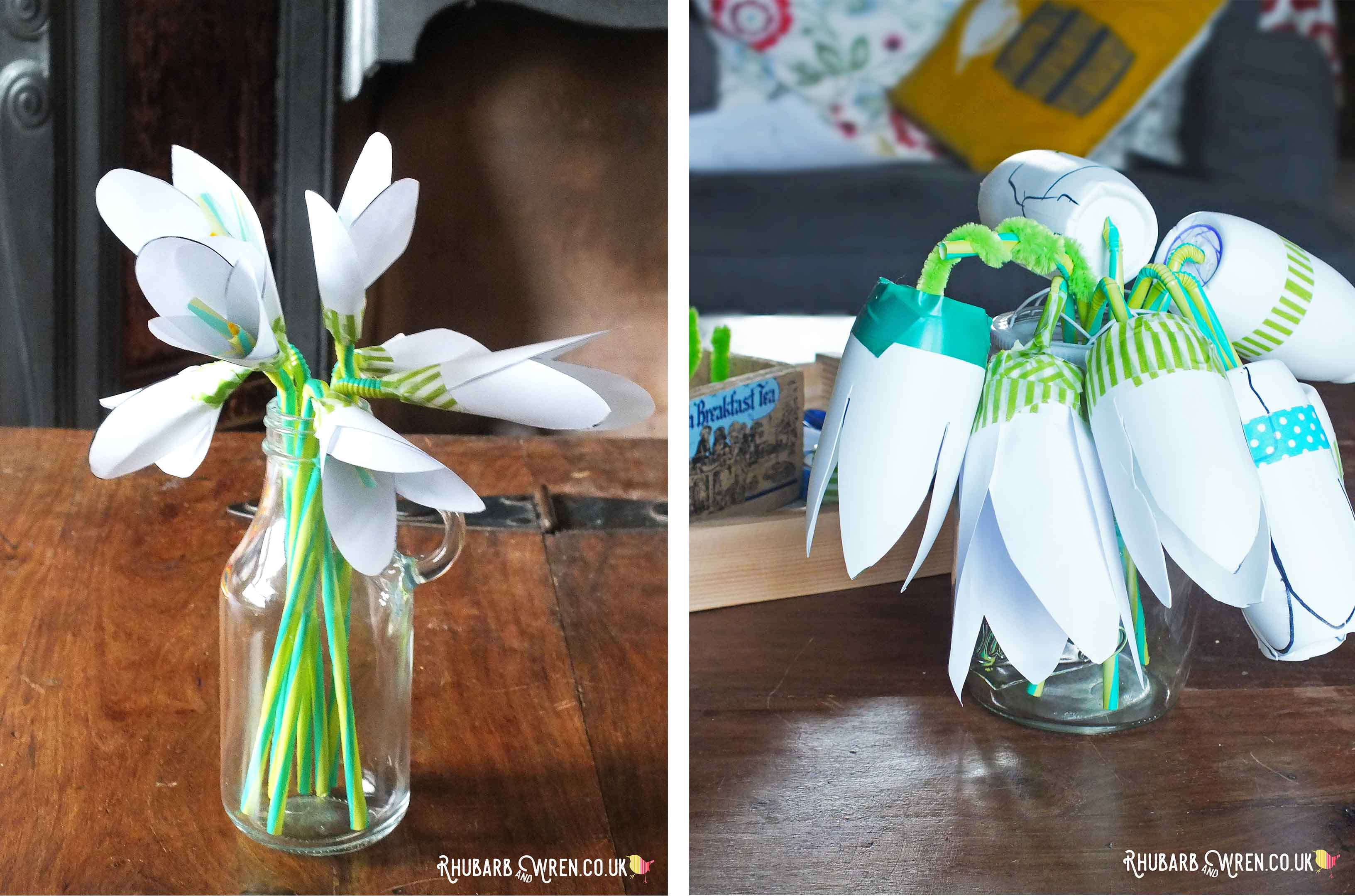 Vase of snowdrops made from paper and plastic bottles