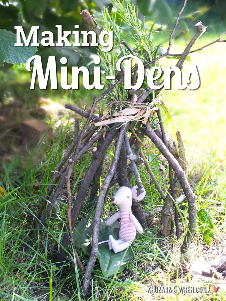 Mini den teepee made of twigs for small toy.