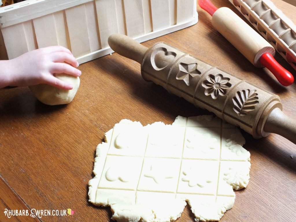 Home-made play dough and wooden rolling pins