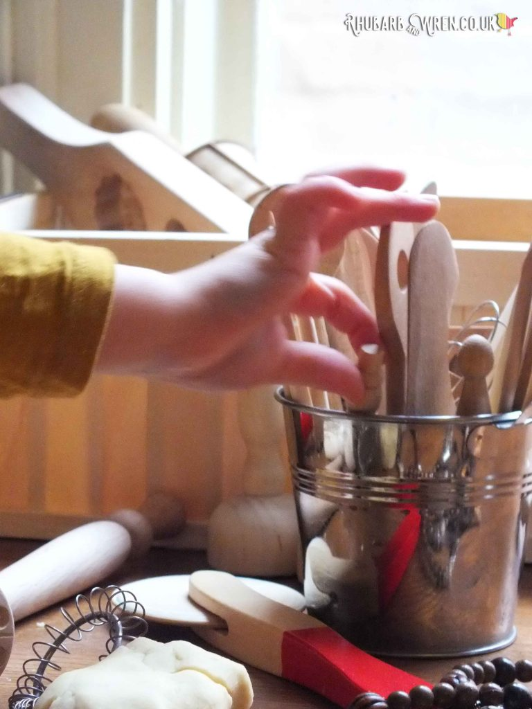 Wooden pottery tools are just as good for using with play dough