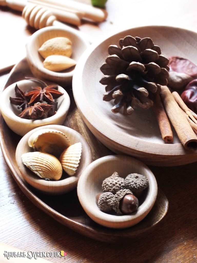 Nuts, seeds, spices and shells make natural play dough stampers