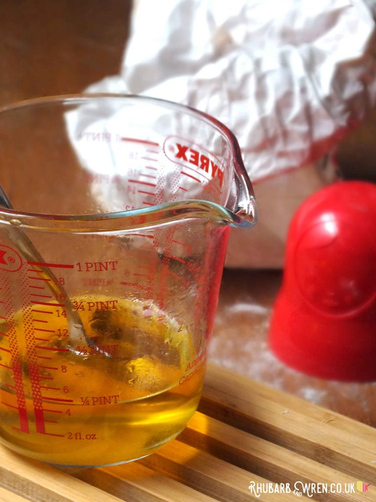 vegetable oil in jug for play dough recipe