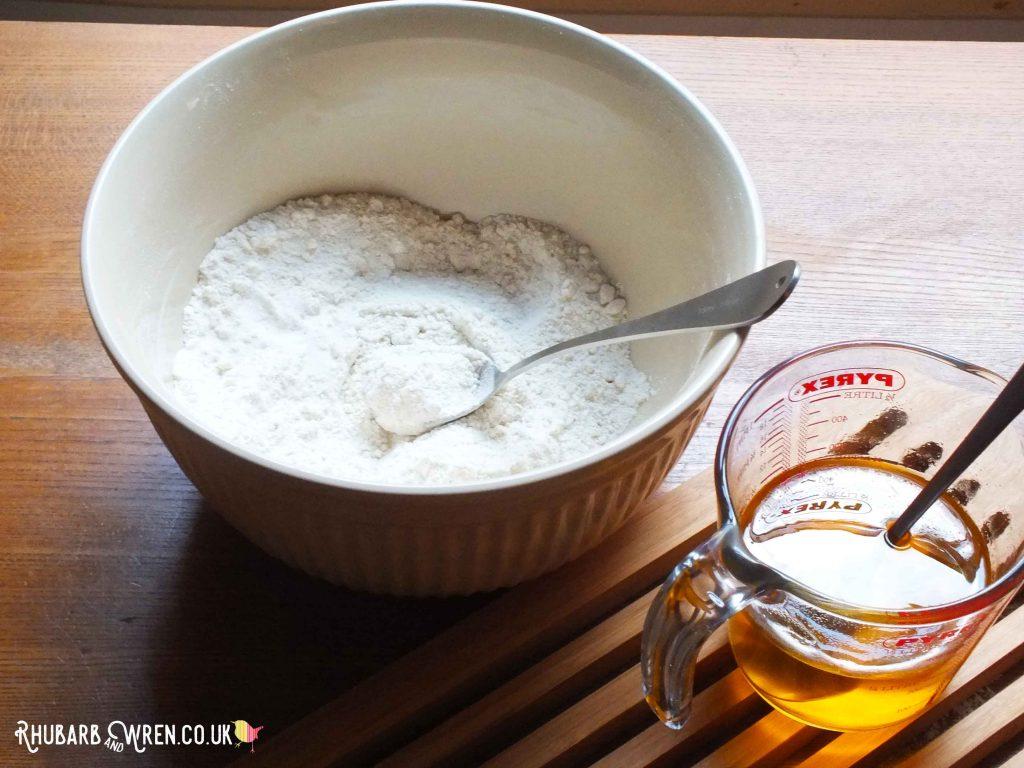 Flour, salt, cream of tartar, oil - play dough ingredients