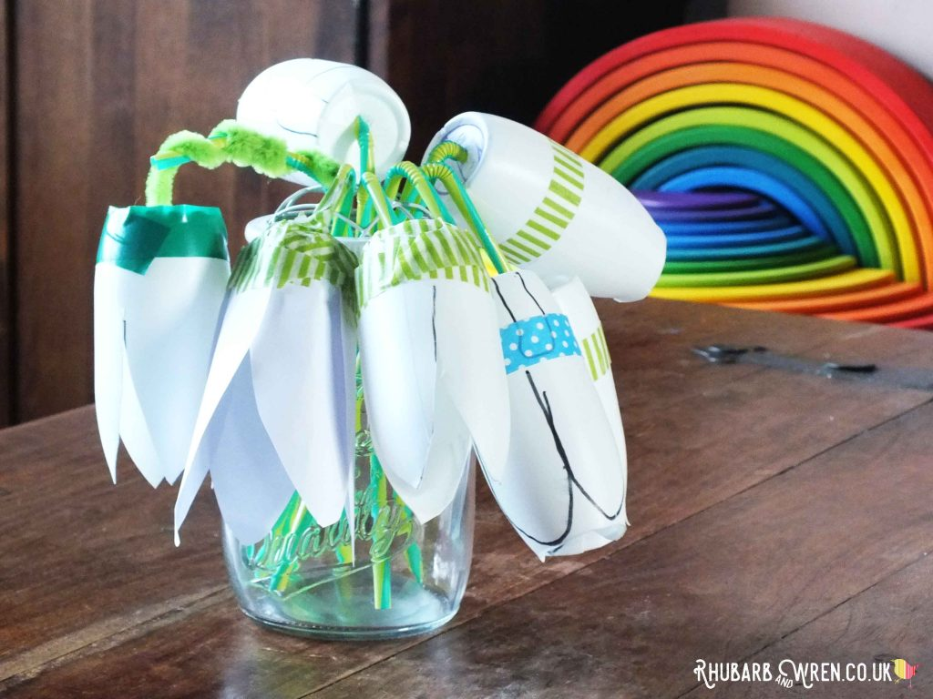 Snowdrop flowers made from recycled plastic bottles