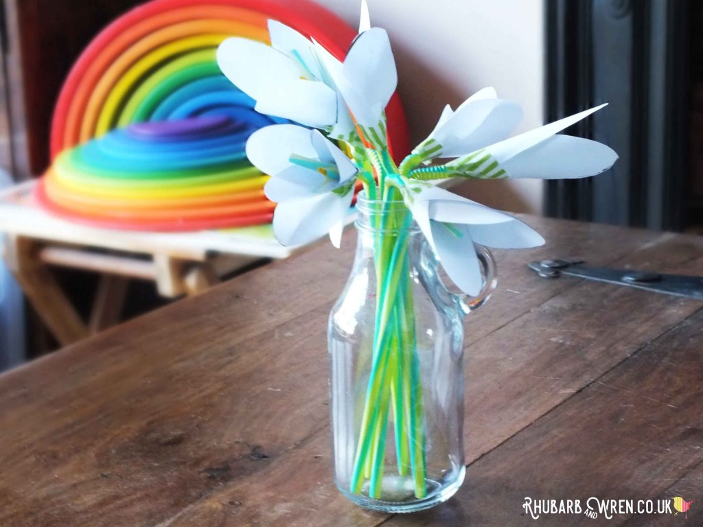 home-made paper snowdrop flowers