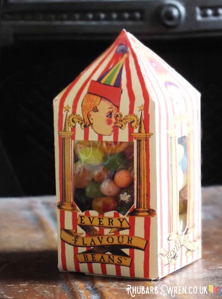 DIY Bertie Botts Every Flavour Bean box of sweets for Harry Potter party bag