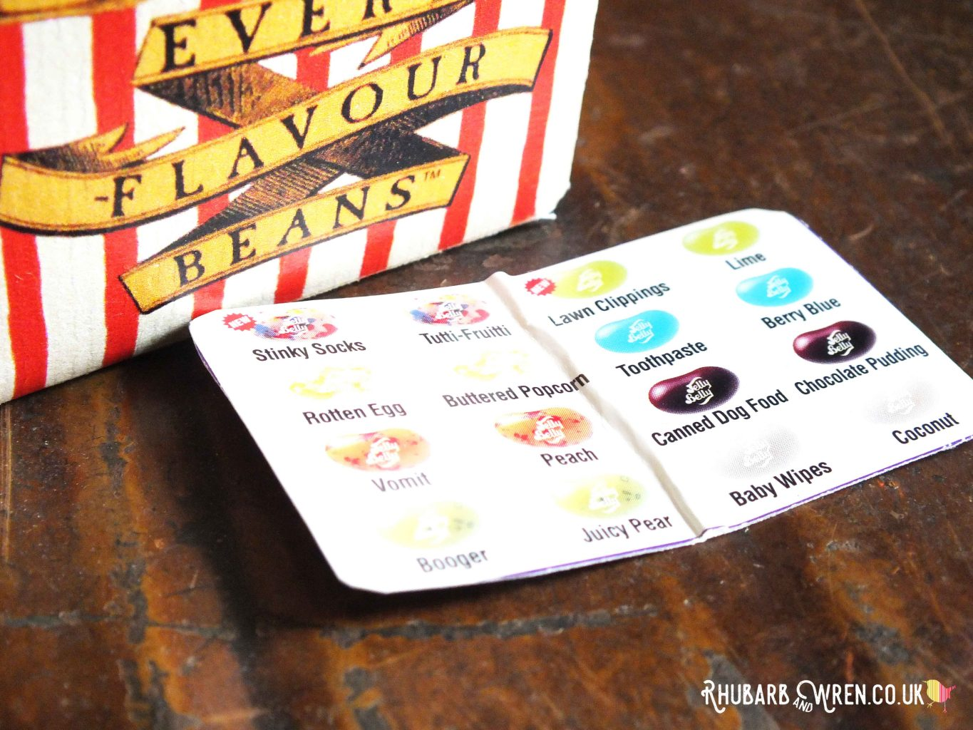 DIY Bertie Botts Every Flavour Beans sweet box - Bean Boozled flavour card