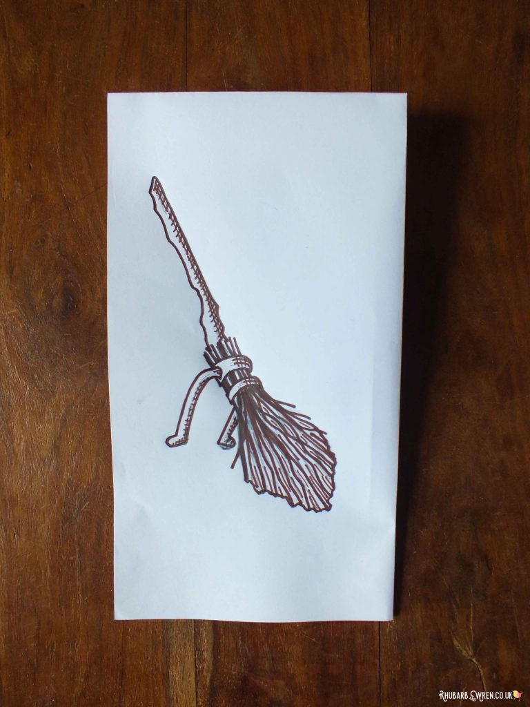 Simplified drawing of Harry Potter's Firebolt broomstick, for lino printing