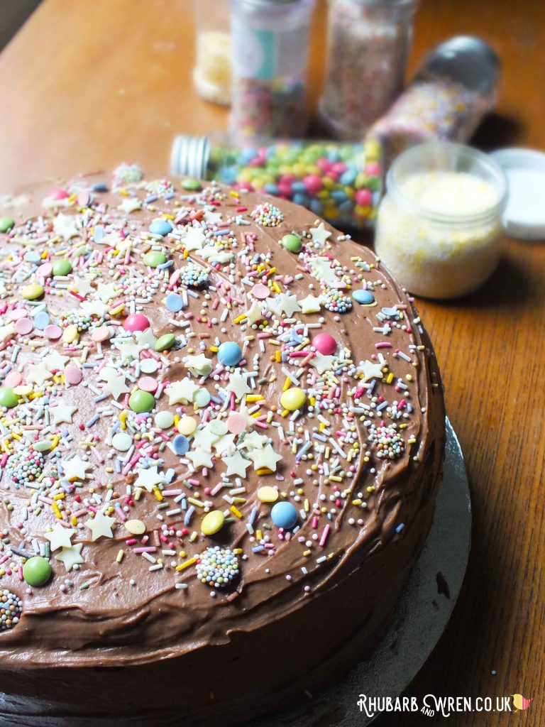 Close-up of milk chocolate cake covered with sprinkles