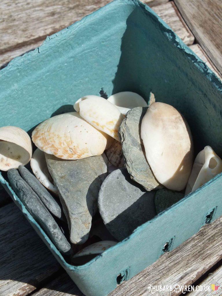 blue punnet full of pebbles