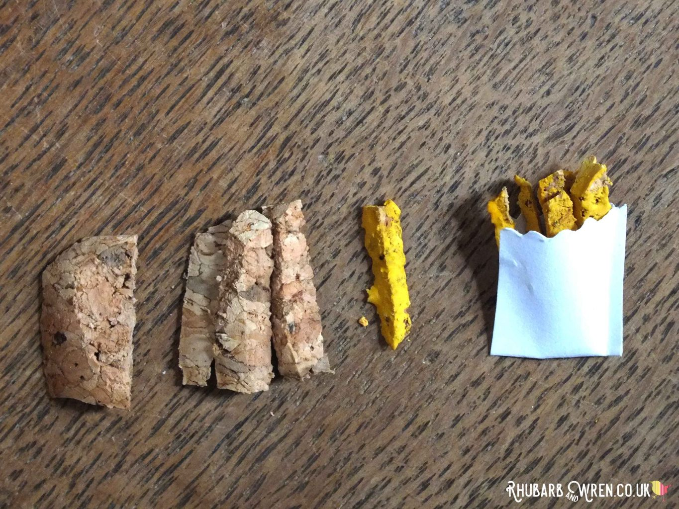 Wine cork cut into strips and painted yellow for doll food chips or french fries