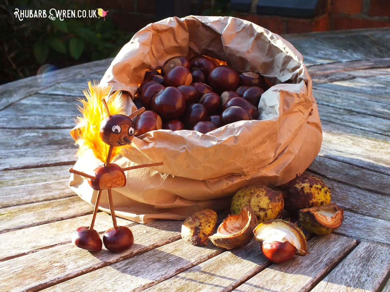 Bag of conkers with a conker creature standing beside it.