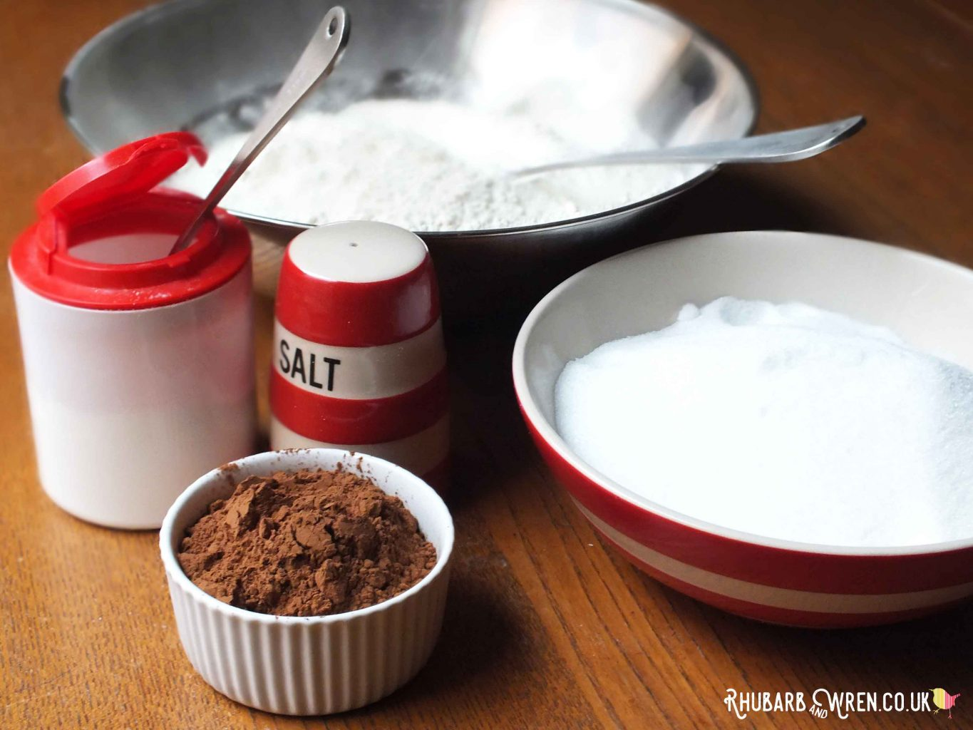 Dry ingredients needed for milk chocolate cake recipe