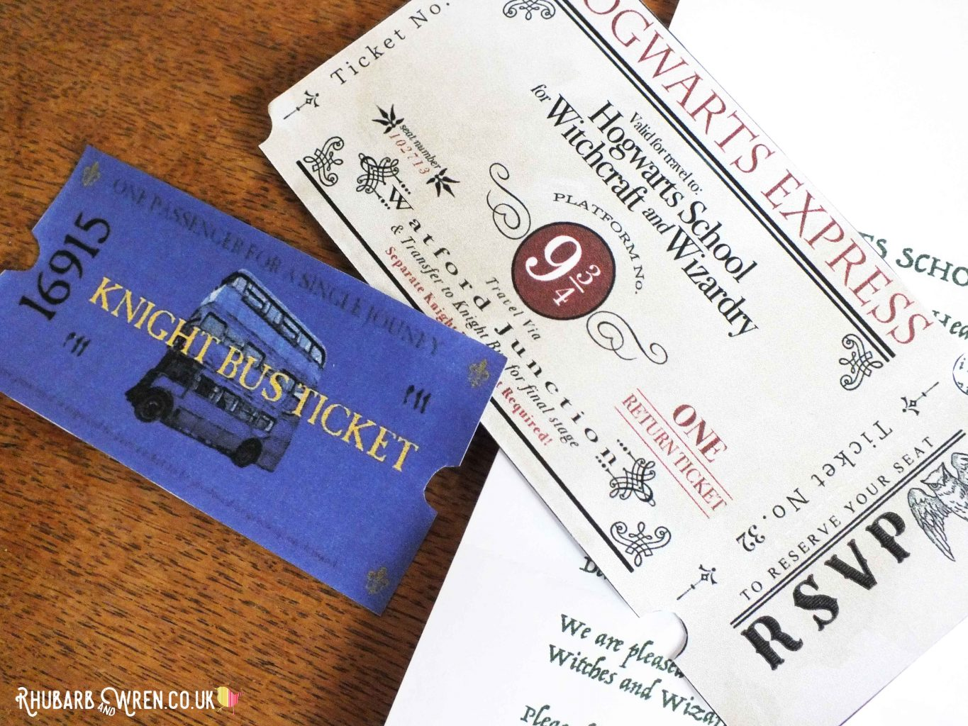 DIY Hogwarts Express ticket and Knight Bus ticket for Harry Potter party