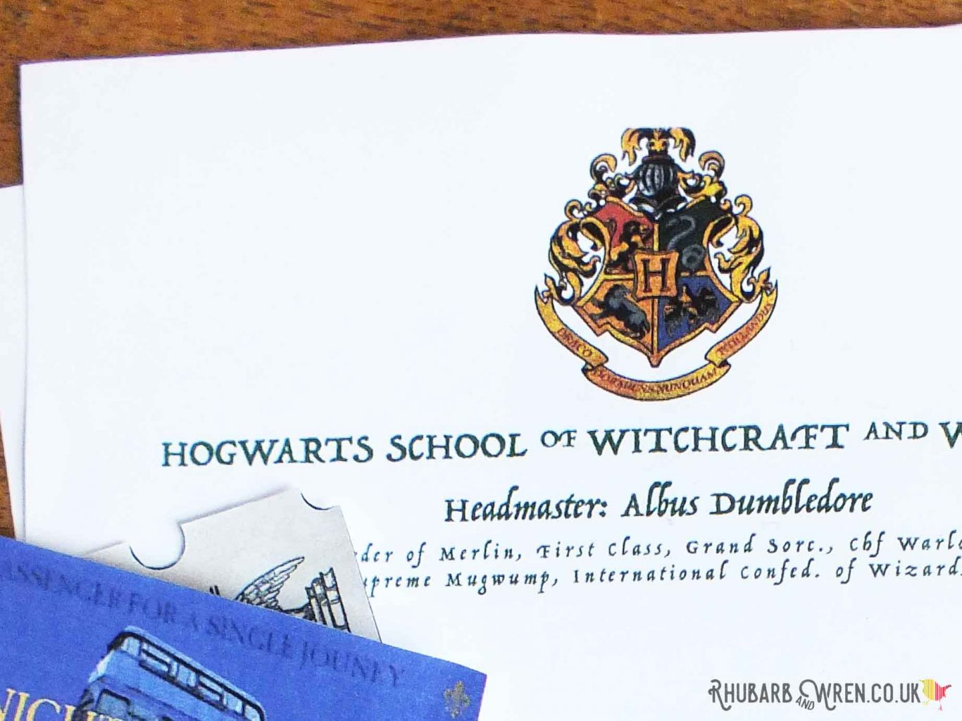 Hogwarts letter DIY party invitation and Harry Potter party bag
