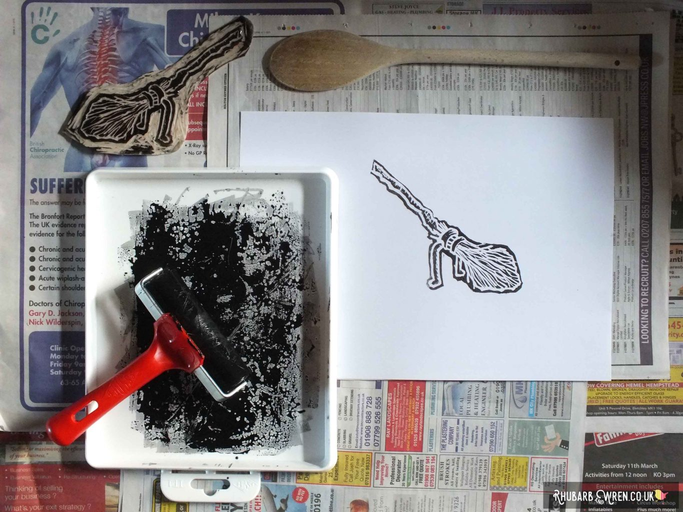 lino print of Harry Potter's firebolt broom