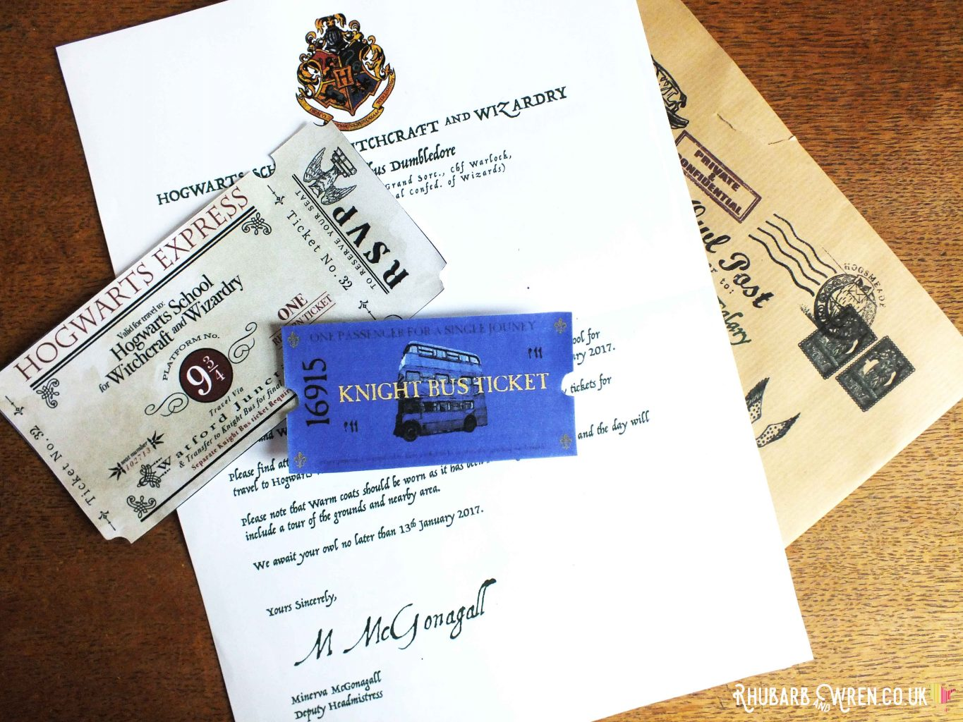 Hogwarts letter invitation with knight bus and Hogwarts Express tickets for DIY Harry Potter party bag