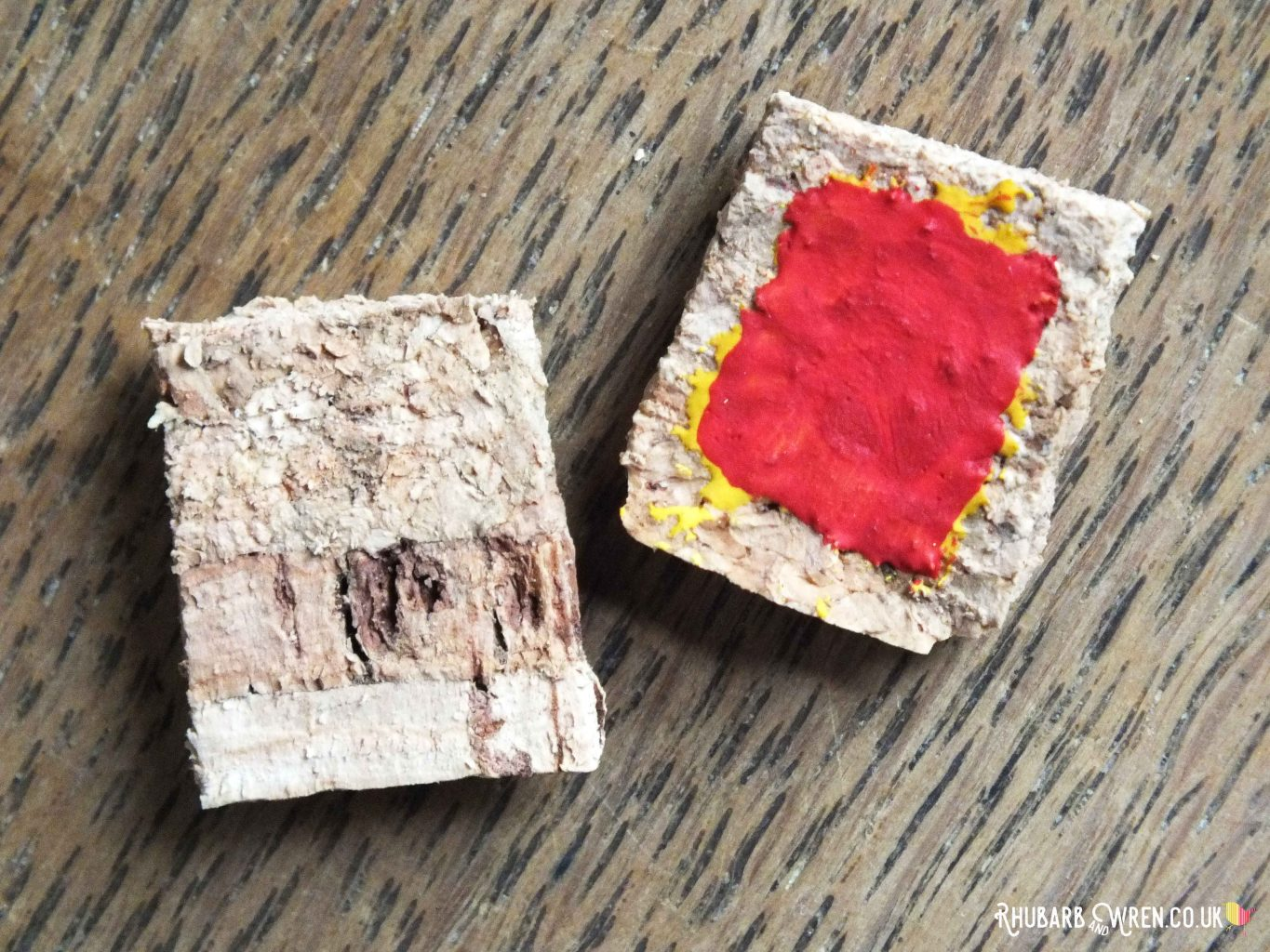 Sliced wine cork painted to make doll food jam toast
