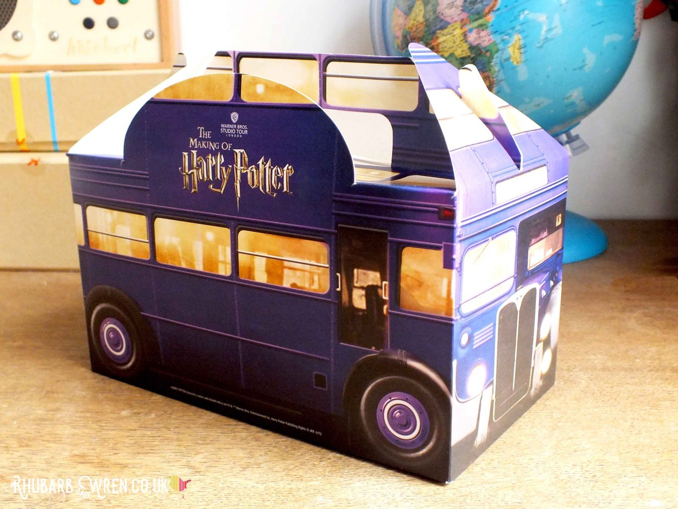 Knight bus shaped children's lunch box from the Making of Harry Potter Warner Bros. Studio Tour, UK