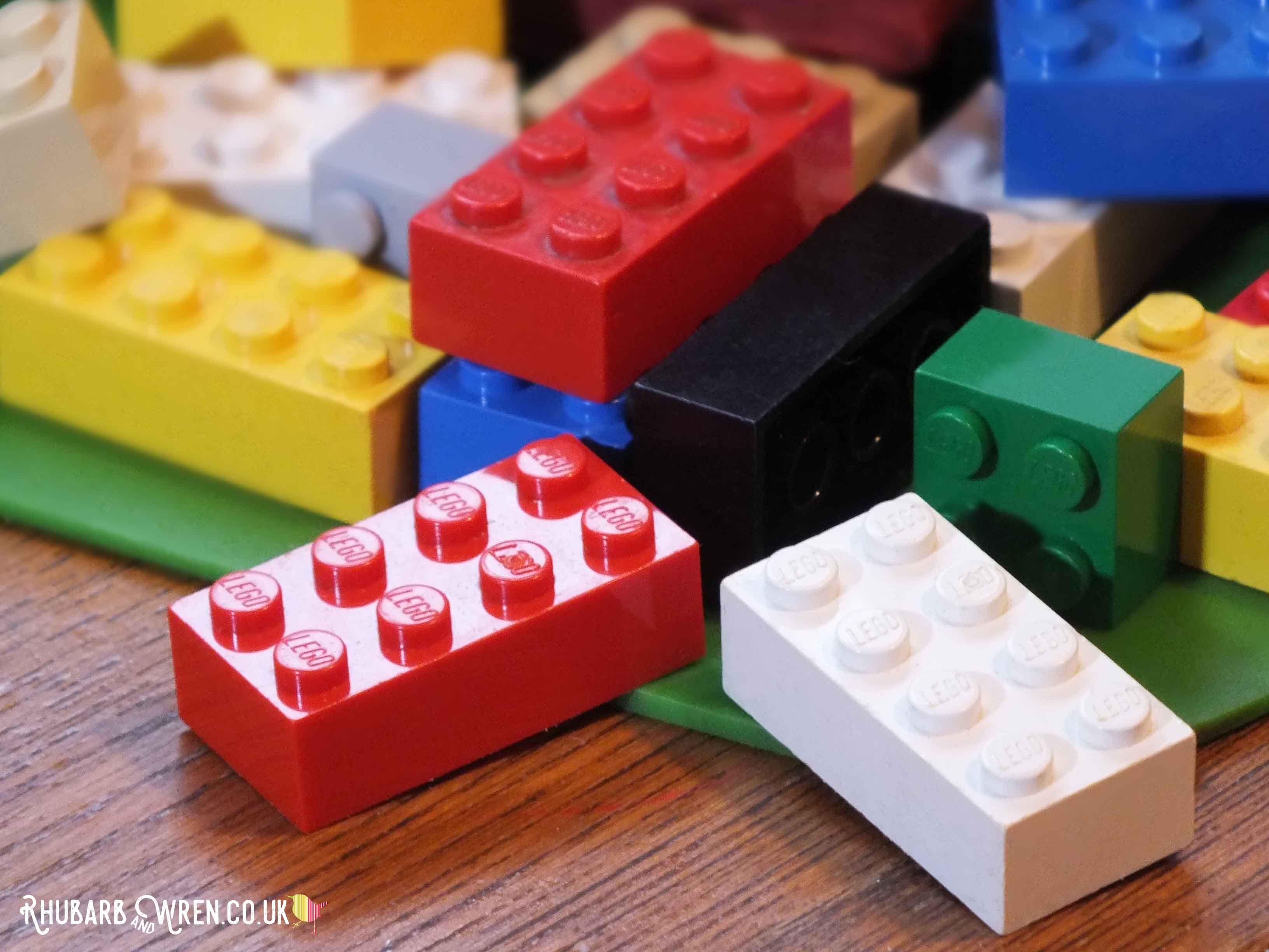 A pile of brightly coloured Lego bricks
