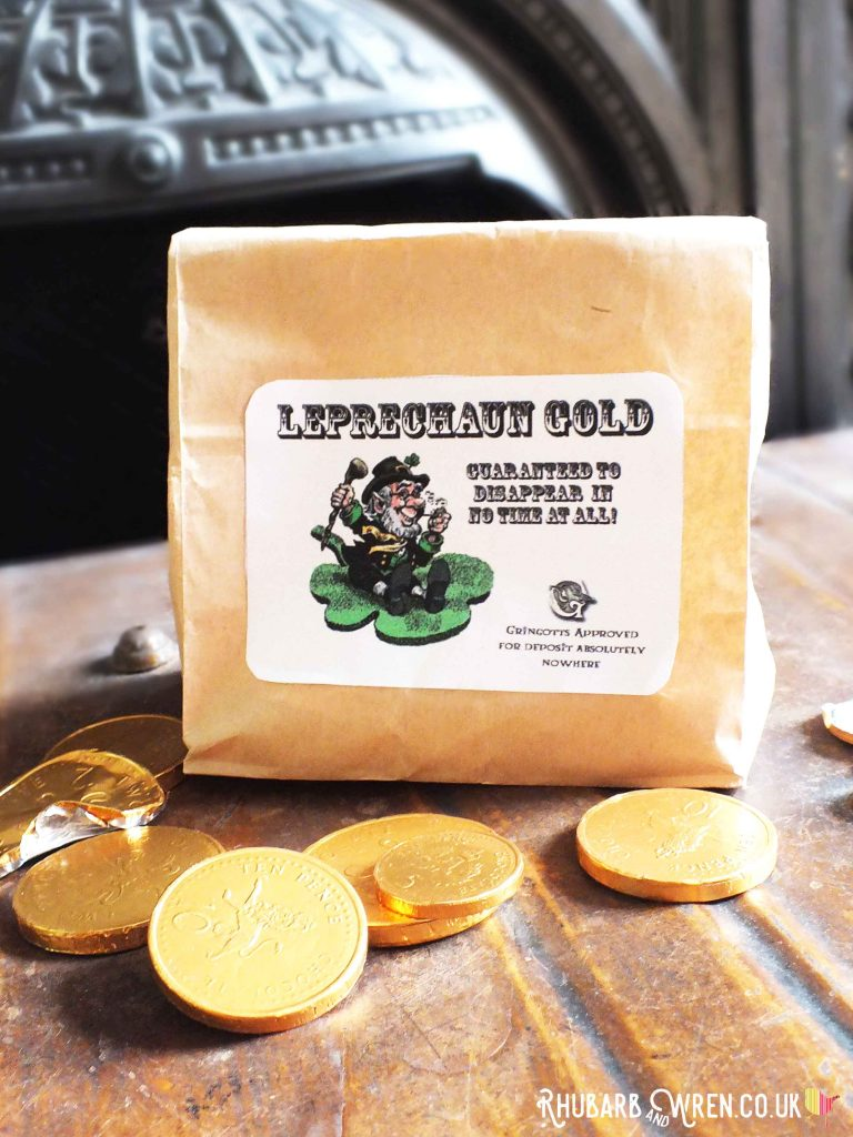 chocolate gold coins in a 'Leprechaun gold' bag