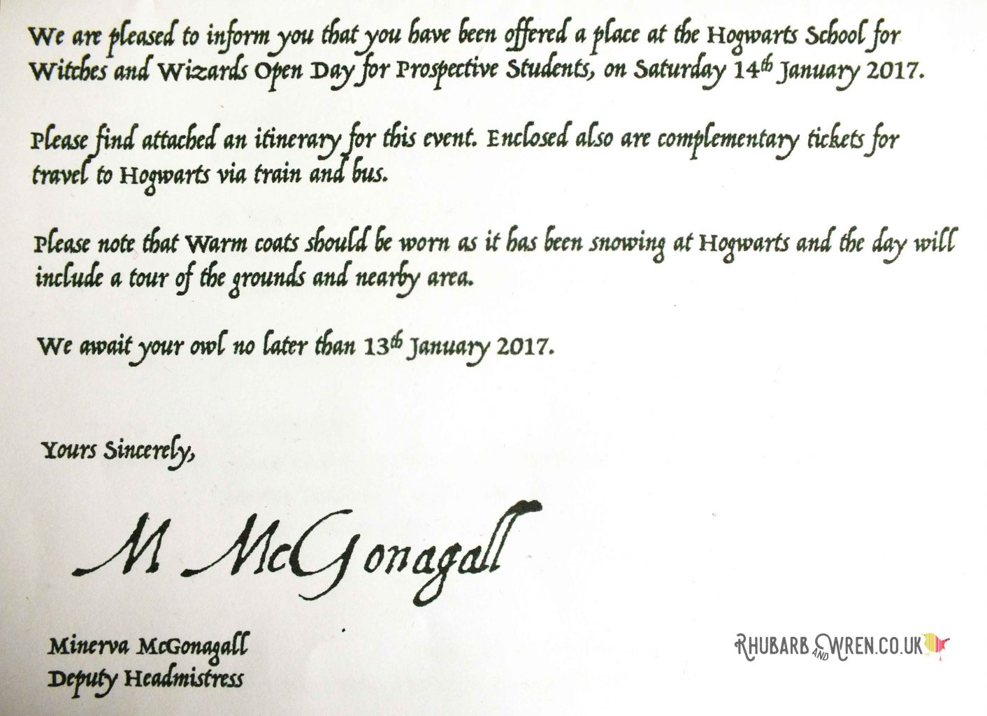 close up of Hogwarts open day letter / party invitation for DIY Harry Potter party bag