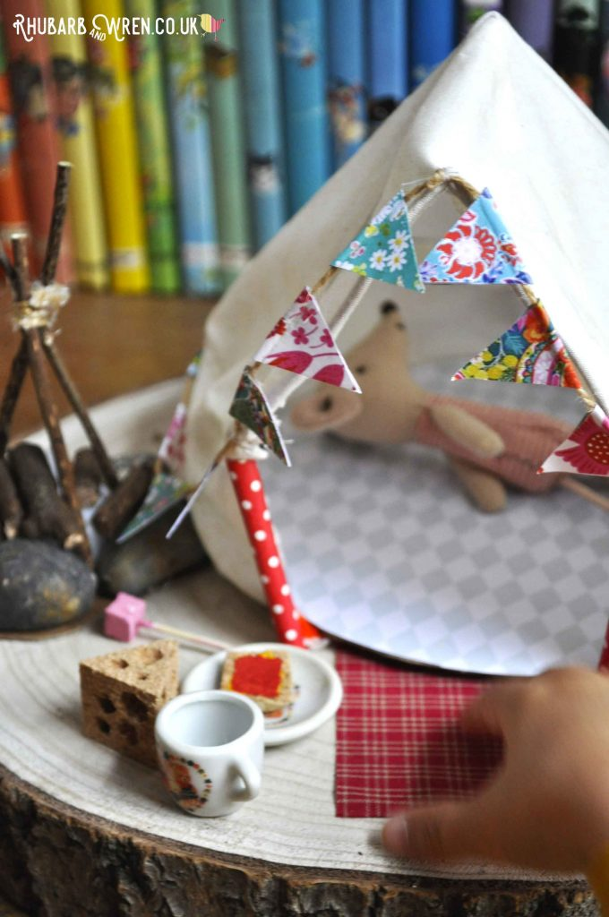 Child playing with Maileg mouse Big Sister in toy dolls bell tent