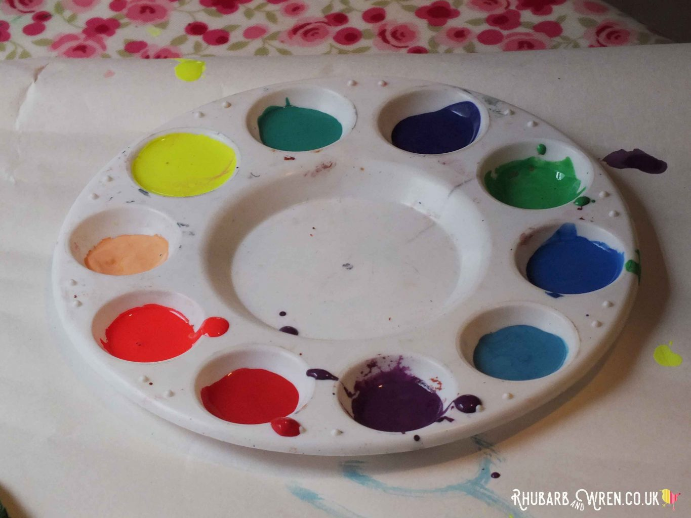 Circular paint palette with rainbow colours of paint in wells