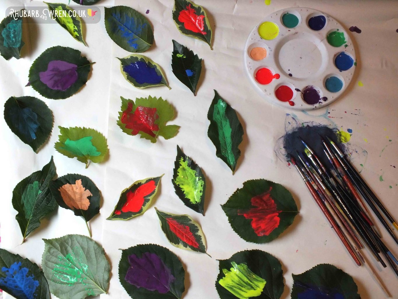 painted leaves, paintbrushes covered in paint, round paint pallet with rainbow colours.