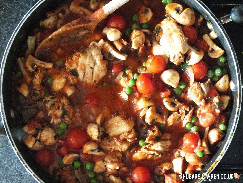 looking down on large pan full of Mauritian chicken daube