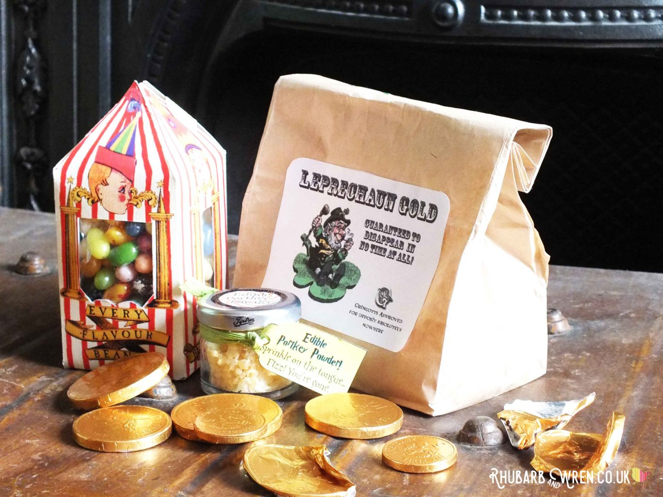 Bertie Botts Beans and Leprechaun gold coins for a DIY Harry Potter party bag